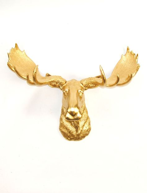 White Faux Taxidermy - Gold Moose Head - The Elcide - Faux Taxidermy - Chic & Trendy. $89.99, via Etsy.