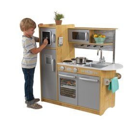 KidKraft Uptown Espresso Kitchen with 30 Piece Play Food ...