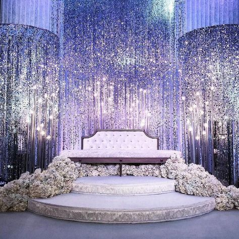 Silver Bubbles Beaded Curtains create this UNBELIEVABLE sparkle! Silver Bubbles Beaded Curtains create this UNBELIEVABLE sparkle! ✨ We have this and more and our talented fabrication te. Wedding Hall Decorations, Wedding Reception Backdrop, Backdrop Decorations, Backdrops, Wedding Receptions, Wedding Mandap, Sparkle Decorations, Indian Reception, Wedding Table