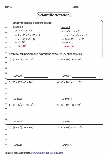 Scientific Notation Addition And Subtraction Worksheet In 2020
