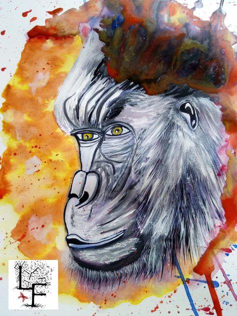 Gorille Au Regard D Homme Aquarelle Sur Papier Aquarelle Dessin