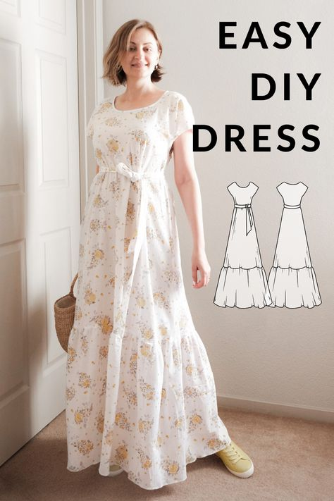 Dress Sewing Tutorials, Sewing Diy, Sewing Ideas, Sewing Projects, Diy Projects, Diy Dress, Easy Sew Dress, Simple Dress Pattern, Plus Size Patterns