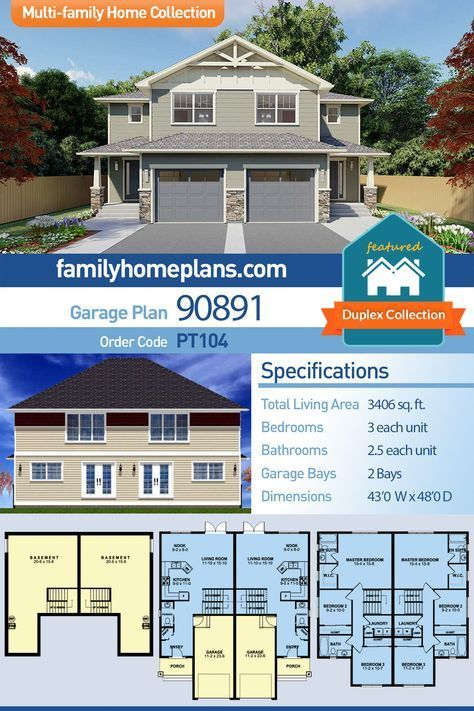 Craftsman Style Multi Family Plan Number 90891 With 6 Bed 6 Bath 2 Car Garage For The Hom Craftsman Style House Plans Family House Plans Duplex House Plans