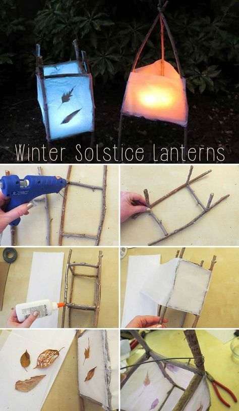 DIY these fantastic lanterns made from twigs, white tissue paper, cardboard, leaves or pine needles and flameless tea light candles to celebrate the winter solstice. Diy And Crafts, Crafts For Kids, Beach Crafts, Felt Crafts, Winter Diy, Winter Snow, Garden Lanterns, Diy Party Lanterns, Homemade Lanterns