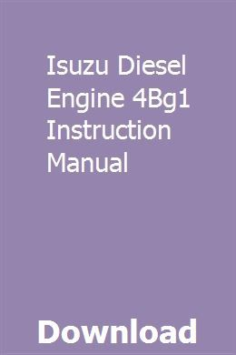 Isuzu Diesel Engine 4bg1 Instruction Manual Installation Manual Diesel Engine Sewing Machine Instruction Manuals