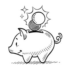 Cartoon Piggy Bank With Coin Royalty Free Vector Image Drawings Hand Drawn Vector Illustrations Black And White Cartoon