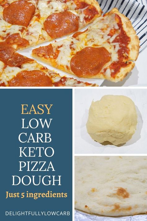 This low-carb pizza dough is made primarily of mozzarella cheese and almond flour, and it produces a very convincing pizza dough. Clean Eating Pizza, Clean Eating Salads, Clean Eating Chicken, Clean Eating Breakfast, Low Calorie Pizza, Low Carb Keto, Low Carb Recipes, Keto Foods, Food Network Recipes
