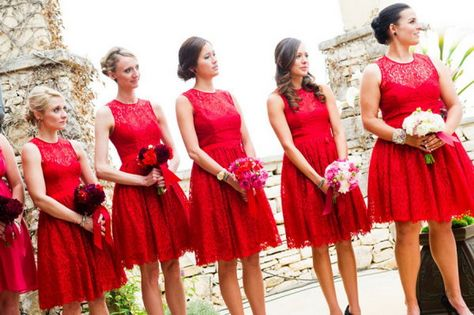 ecba040517 Red Lace Bridesmaid Dresses - would love these in a different color ...