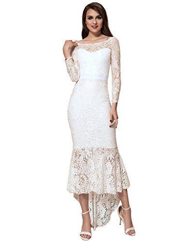 ohyeahlady Damen Cocktail Kleid Retro Spizen Schwingen Fishtail Swing Kleider Celebrity Kleid Abendkleid Brautkleid