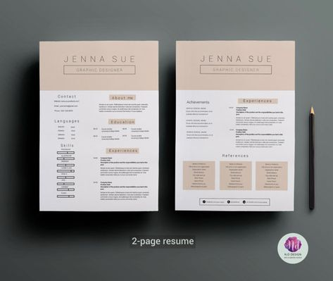 2 Page Cv Template Cover Letter Template Pastel Color Theme