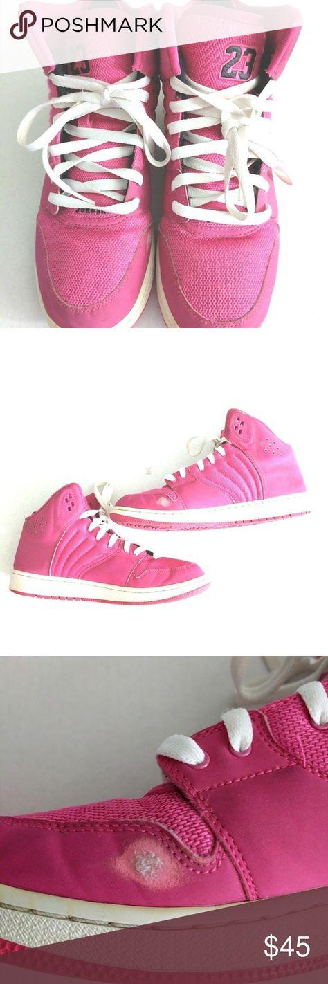 52e1732f646c31 Nike Air Jordan 1 Flight 4 GG Hi Top Pink Trainers Nike Air Jordan 1 Flight  4 GG Hi Top Pink Trainers 820183 609 Big Girl Size 9.5Y White laces white  mid ...