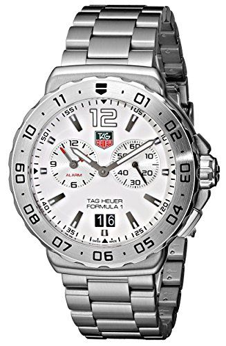 TAG Heuer Mens WAU111BBA0858 Formula 1 White Dial Grande Date Alarm Watch >>> Be sure to check out this awesome product.