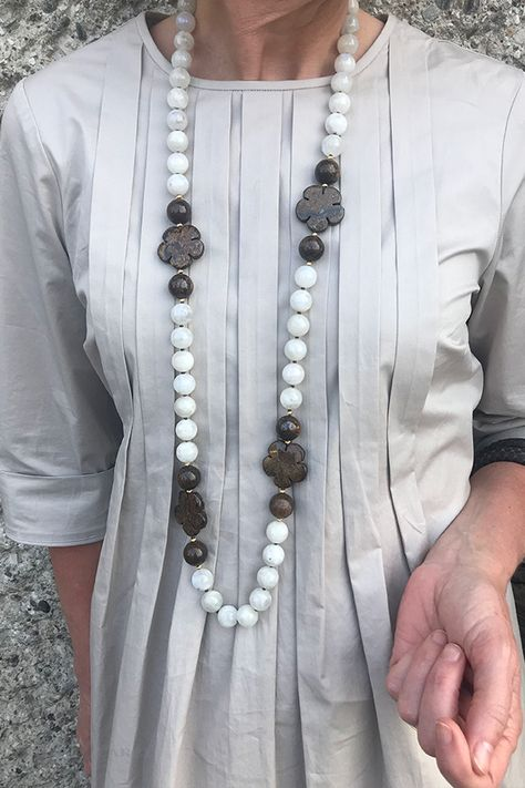 Moonstone with bronzite details and gold accents. Heidi Carey Collection, Fine Jewelry Handmade in California. Statement necklaces for women over 40. The perfect gift for that women who have everything. #Handmade #necklace #statement #accessories #Jewelry #over40 #HeidiCarey #over50 #statementnecklaces