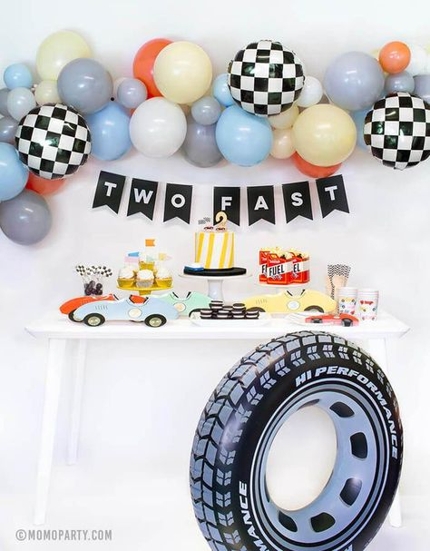 Use this giant tire tube as the decoration for your race-car themed party. Or use it as one of the party activities and have the little ones roll with it in the backyard! Pack of 1  Material: vinyl  Size: 36 inches inflated Recommended age: 9 and up Comes uninflated. Use an electric inflator to inflate. 2nd Birthday Party For Boys, Toddler Boy Birthday, Second Birthday Ideas, Race Car Birthday, Race Car Party, Cars Birthday Parties, Birthday Party Decorations, Car Themed Birthday Party, Happy Birthday