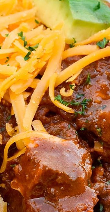 Alton Brown Chili Is A Hearty No Bean Chili With Intense Layers Of Robust Flavor And Plenty Of Fa Alton Brown Chili Alton Brown Chili Recipe Brown Chili Recipe