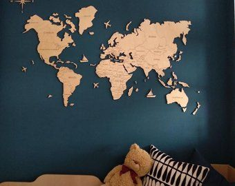 World Map Wall Art Travel Push Pin Map of the World Wanderlust | Etsy
