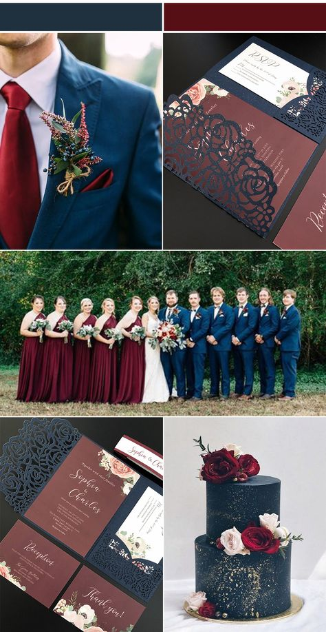 wedding colors Navy and Burgundy Wedding Invitations with Laser Cut Pockets-Free RSVP Cards