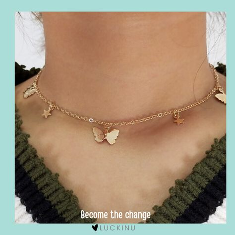 Become the change Butterfly  Stars Necklace $14.95