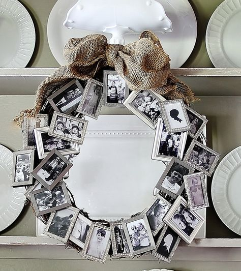 Love this idea! A bunch of dollar store small frames to create a meaningful wreath. Great anniversary, retirement or birthday gift. @ DIY Home I want one.