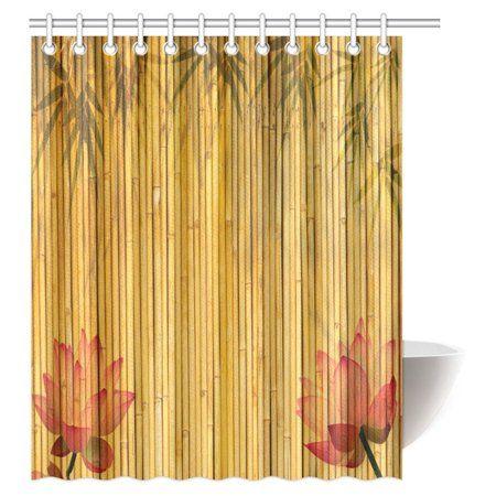 Home Bathroom Decor Shower Curtain Sets Bamboo Background