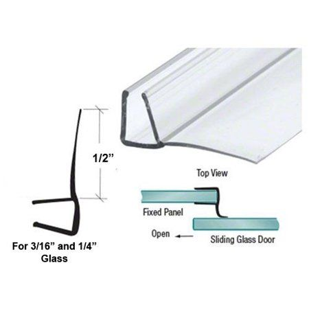 Shower Door Polycarbonate With 90 Degree 1 2 Long Vinyl Fin Seal For 3 16 And 1 4 Glass 64 Long Shower Doors Glass Shower Doors Vinyl