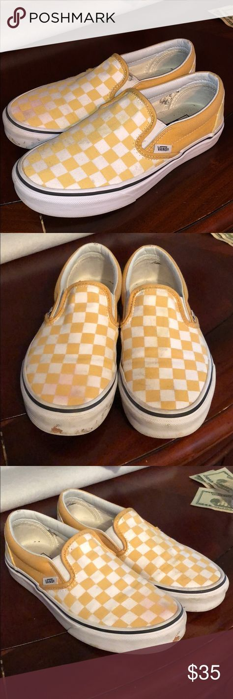 db36bca1548321 Yellow Checkered Vans In good condition slightly dirty and sort of stained  on the right shoe