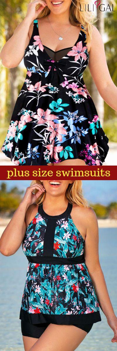 3bf7de0b80f sexy plus size swimsuits for summer vacation, boho leaf print asymmetrical plus  size swimdress,