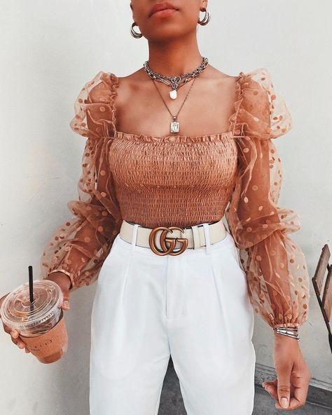 Women Mesh Sheer Blouse Chiffon See-through Long Sleeve Top Shirt Blouse Fashion Organza Transparent White Shirt Female - China / XL / Brown