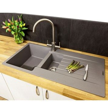 Reginox Harlem 1 5 Bowl Grey Silvery Granite Composite Kitchen