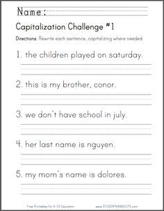 FREE Printable Capitalization Challenge Worksheet | First ...