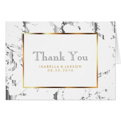 Silver Marble Gold And White Thank You Zazzle Com Thank You Cards Thank You Card Template Custom Thank You Cards