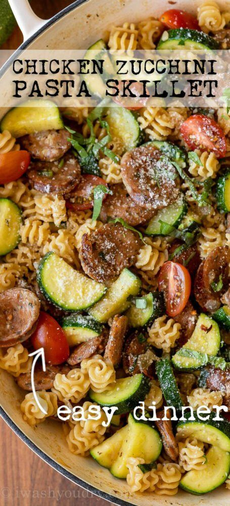 This bright and flavorful Chicken Zucchini Pasta Skillet is filled with plump chicken sausages, tender zucchini and pasta in a light, lemon and basil sauce. Ready in just 20 minutes and perfect for busy weeknights!