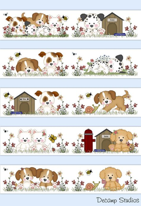 PUPPY DOG NURSERY Decals Baby Girl Wallpaper Border Wall Art Stickers Kids room Decor - Dog House Fire Hydrant Dalmatian Bee Butterfly