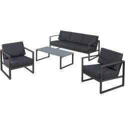 Garten Sofa Set Kentucky 1 Sofa 2 Sessel 1 Tisch Grau