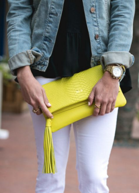 Fold-over Clutch in Neon Yellow Embossed Python