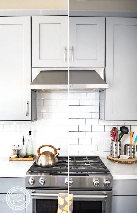 Backsplash Tile Refresh How To Make White Tile Pop For Under 20 Never Skip Brunch White Subway Tile Kitchen Kitchen Backsplash Designs Kitchen Remodel