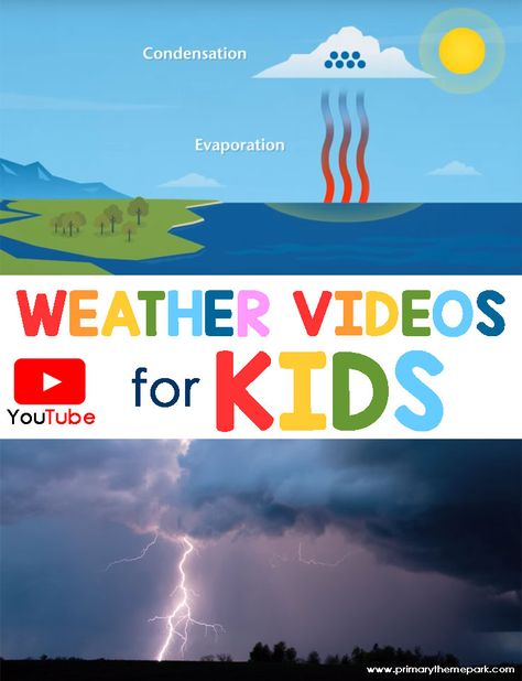 This collection of You Tube weather videos is a perfect addition to a weather unit! Kid Science, First Grade Science, Kindergarten Science, Elementary Science, Science Classroom, Science Lessons, Teaching Science, Science Activities, Earth Science