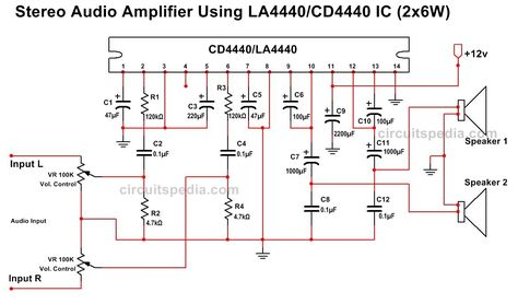 Pin on la4440 ic audio amplifier circuit