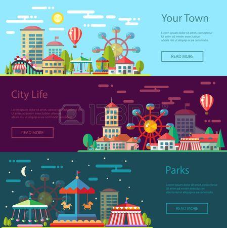 Moderne vector platte ontwerp conceptuele stad illustratie met carrousels Stockfoto