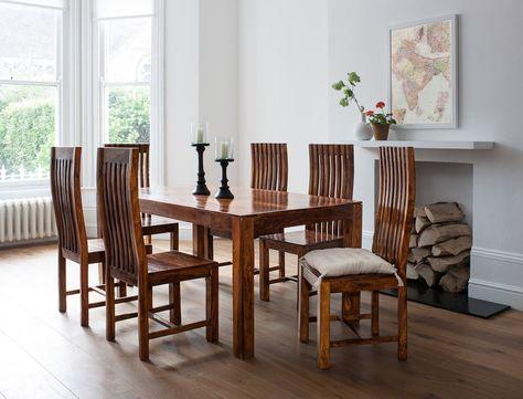 Mandir Sheesham 6 Seater Dining Set 180cm Table Dining Table