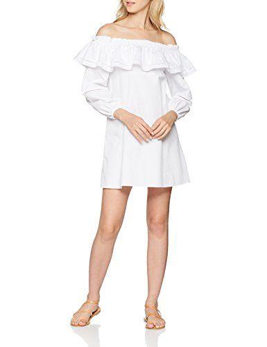 reputable site 3ae32 5f8ab New Look Poplin Frill Ladder Vestito Donna Bianco (White 10 ...