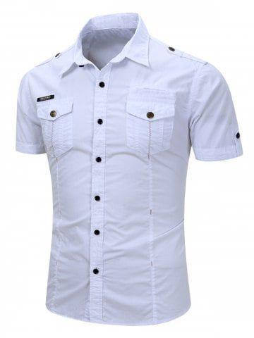 Men Fashion Casual Short Sleeve Cargo Dress Shirt Button Down Shirts