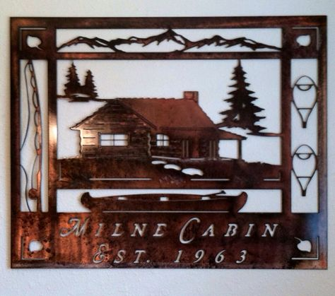 Christmas Gift Ideas Cabin At The Lake Mountain Metal Art