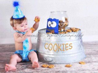Baby Boy Toddler First Birthday Cake Smash Diaper Cover Tie And Party Hat Outfit In Sesame Streets Blue Cookie Monster 3985 Via Etsy