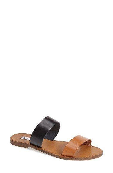 0f5e8a10708 Free shipping and returns on Steve Madden  D-Band  Leather Slide Sandal ( Women) at Nordstrom.com. Two-tone leather straps bring an earthy balance to  a ...