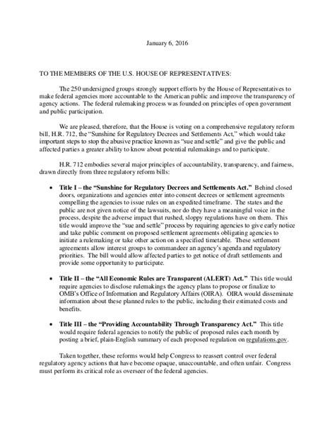 Letter For A 1 6 Coalition Letter Supporting H R 712 The 712 Letter For A
