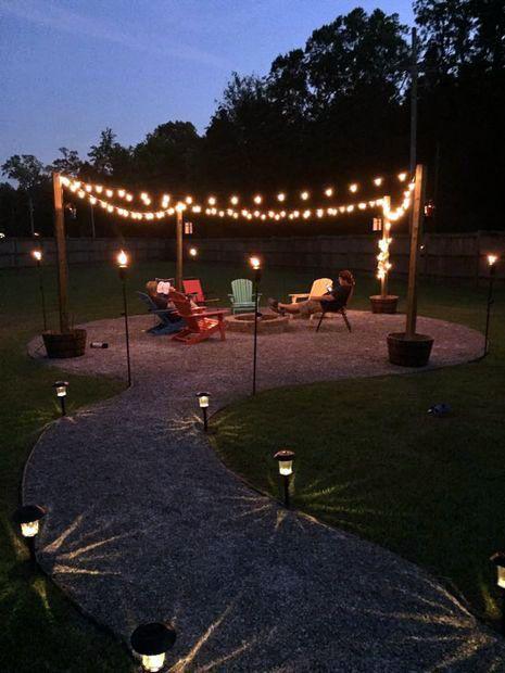 10 Diy Small Backyard Ideas That Make A Big Statement Fire Pit Lighting Fire Pit Backyard Backyard Fire