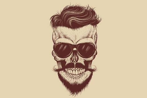 Buy Hipster Skull with Sunglasses Mustache and Beard by krasavec on GraphicRiver. Hipster skull with sunglasses, mustache and beard.