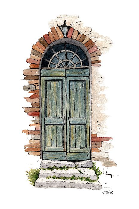 Line and wash painting of an old doorway. - The Old Door by Michael Baker Watercolor Drawing, Watercolor Illustration, Painting & Drawing, Simple Watercolor, Watercolor Trees, Watercolor Animals, Watercolor Background, Watercolor Landscape, Abstract Watercolor