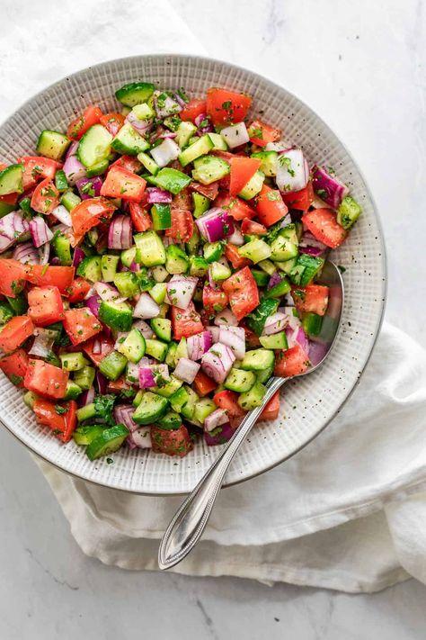 Afghan Food Recipes, Veggie Recipes, Salad Recipes, Healthy Recipes, Vegetarian Recipes, Persian Salad, Turkish Salad, Armenian Recipes, Turkish Recipes
